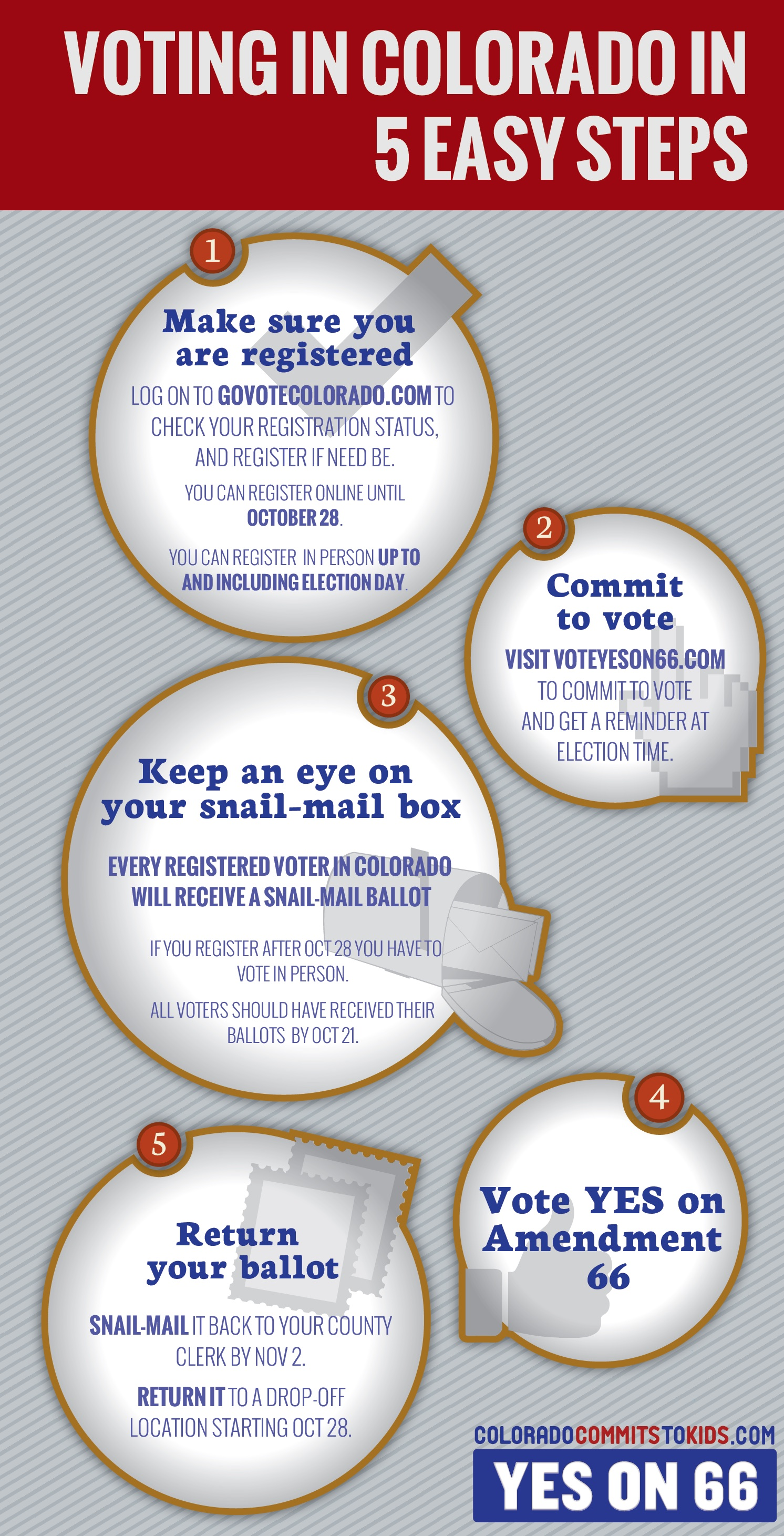 """Amendment 66 """"Voting in Colorado in 5 Easy Steps"""" infographic"""