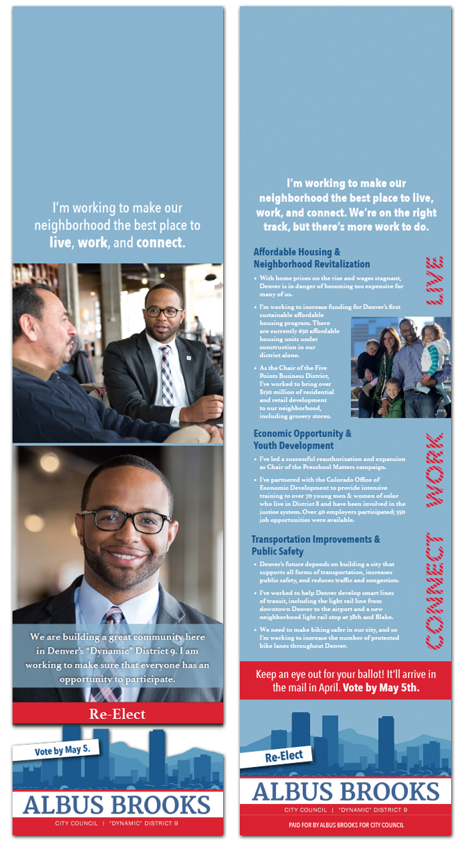 Door hangers for Albus Brooks for City Council campaign