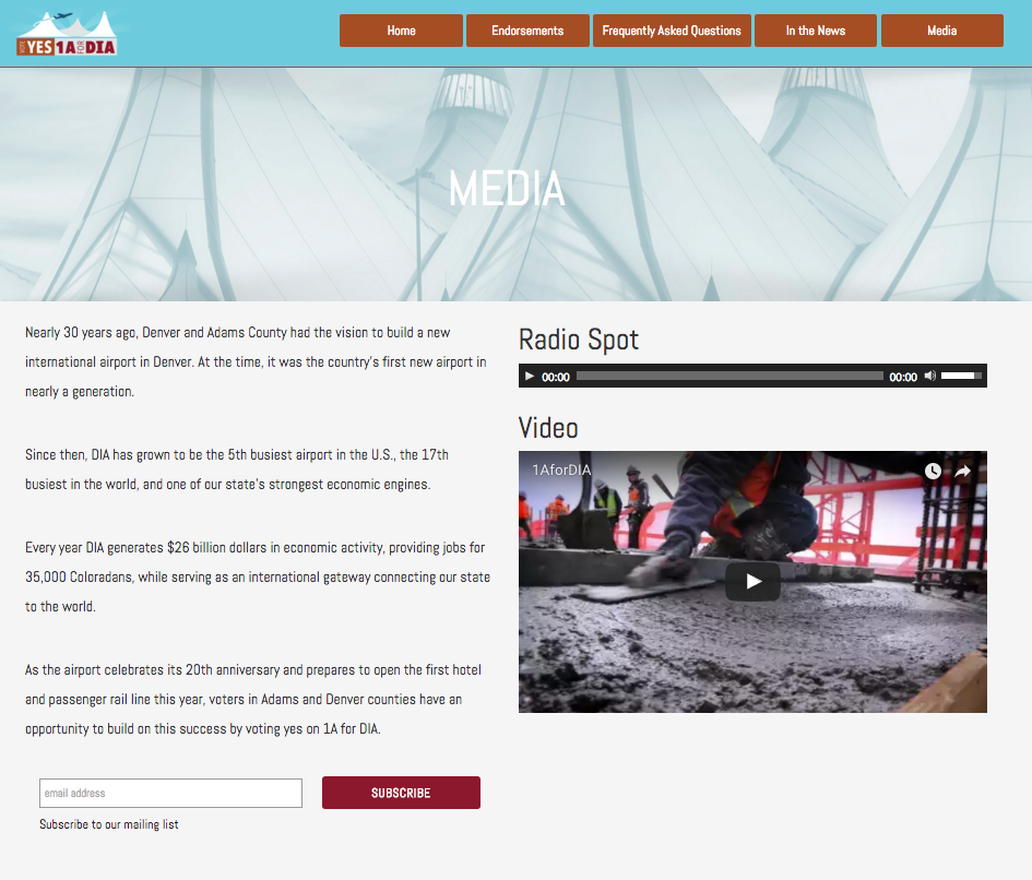 Media page featuring campaign video and radio ads.