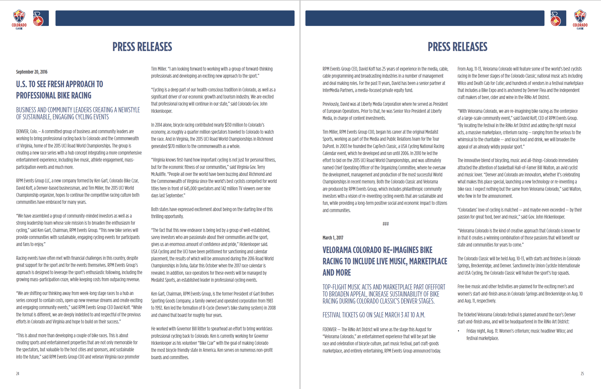 Media guide spread with text