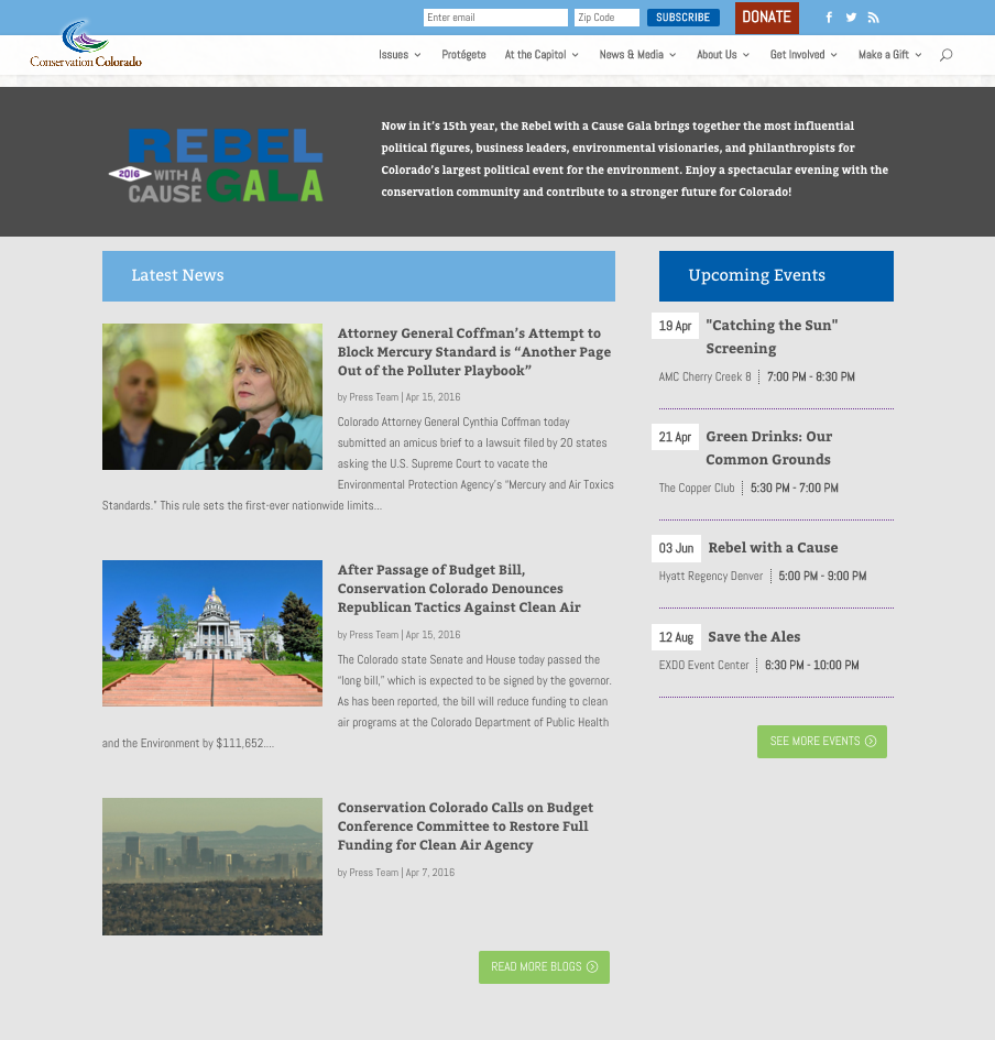 Below the fold the homepage is updated dynamically with blog posts and event listings.