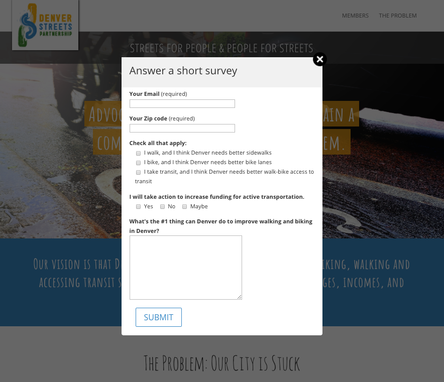 DSP micro-site loads with a pop-up survey to capture advocate contact information and increase engagement.