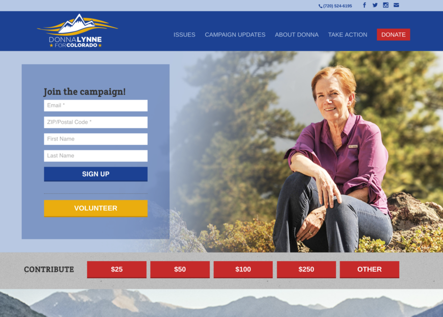Lynne for Colorado web site home page above the fold. Integrates ActionNetwork web forms and ActBlue donate links.