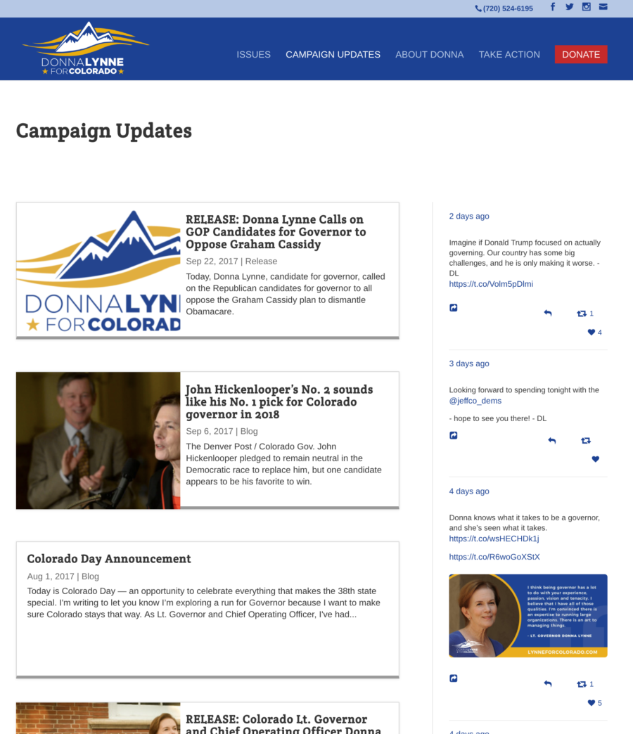 Lynne for Colorado blog page with social media sidebar