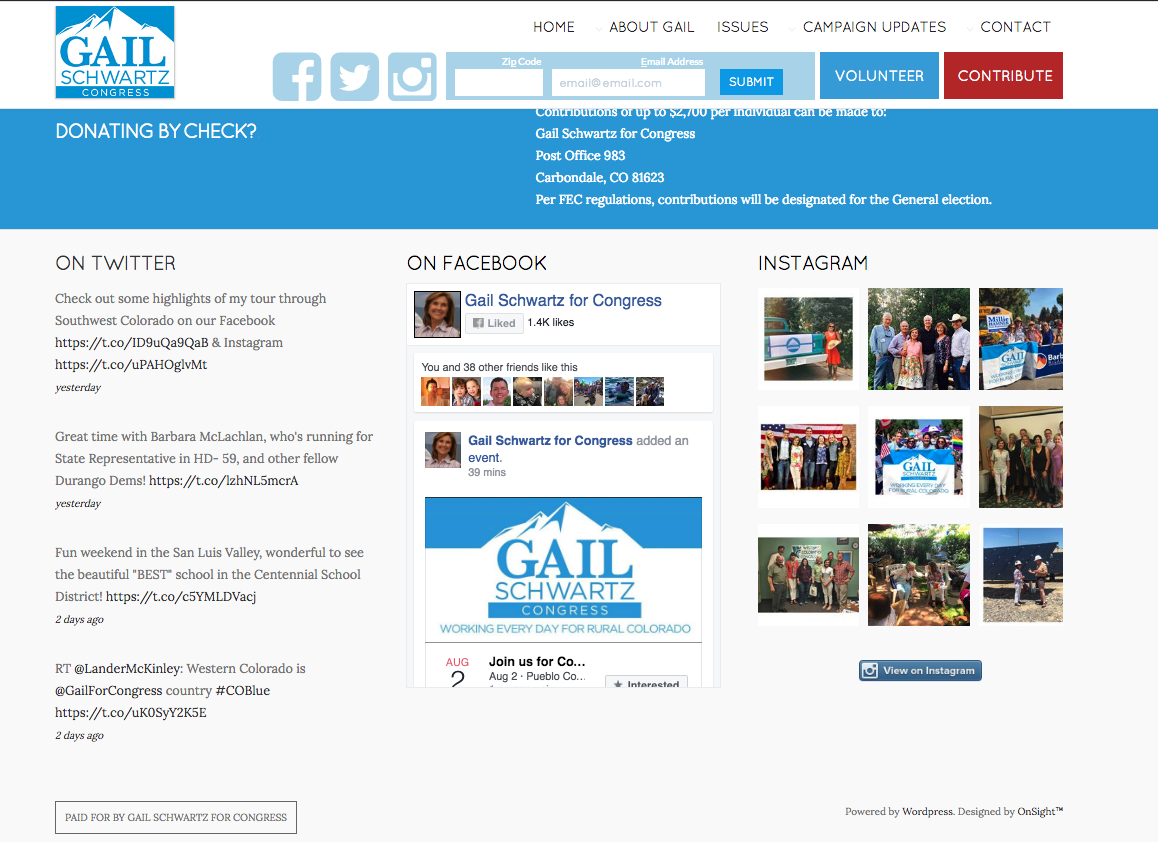 Homepage below the fold featuring social feeds