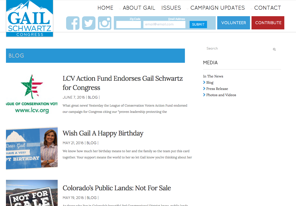 Blog and campaign news feed
