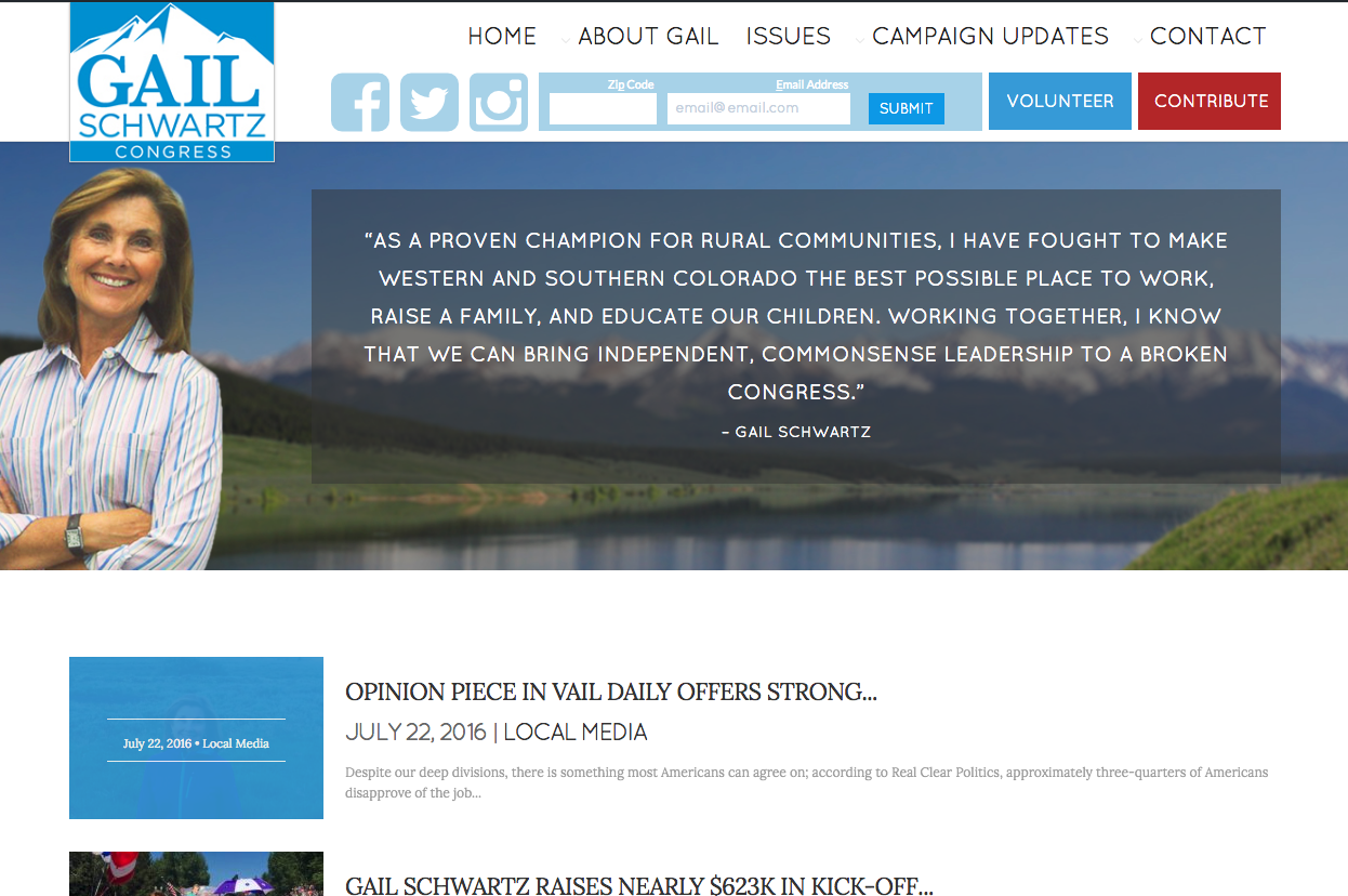 Homepage featuring clean navigation and highlighting candidate testimonial