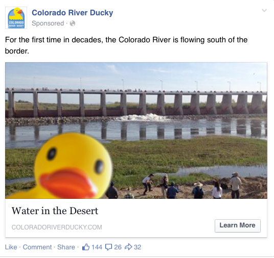 """High-performing Facebook post of the Ducky """"seflie"""" at the start of the pulse flow."""