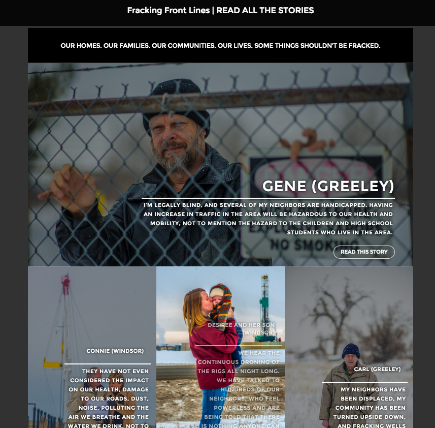 FrackingFrontLines.com was launched on Jan 5th with five photo and quote testimonials; four testimonials were posted over the course of the next week.