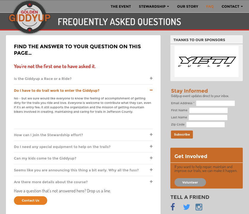 FAQ page with toggles
