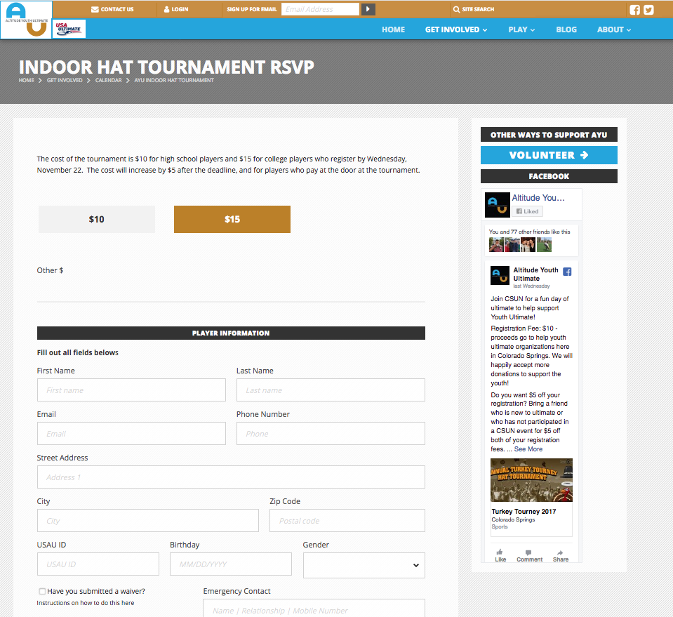 Event RSVP with custom fields and credit card processing