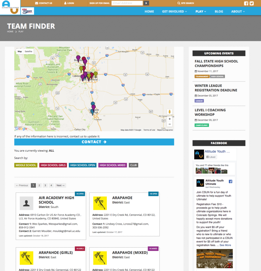 Statewide teams map and directory sortable by division