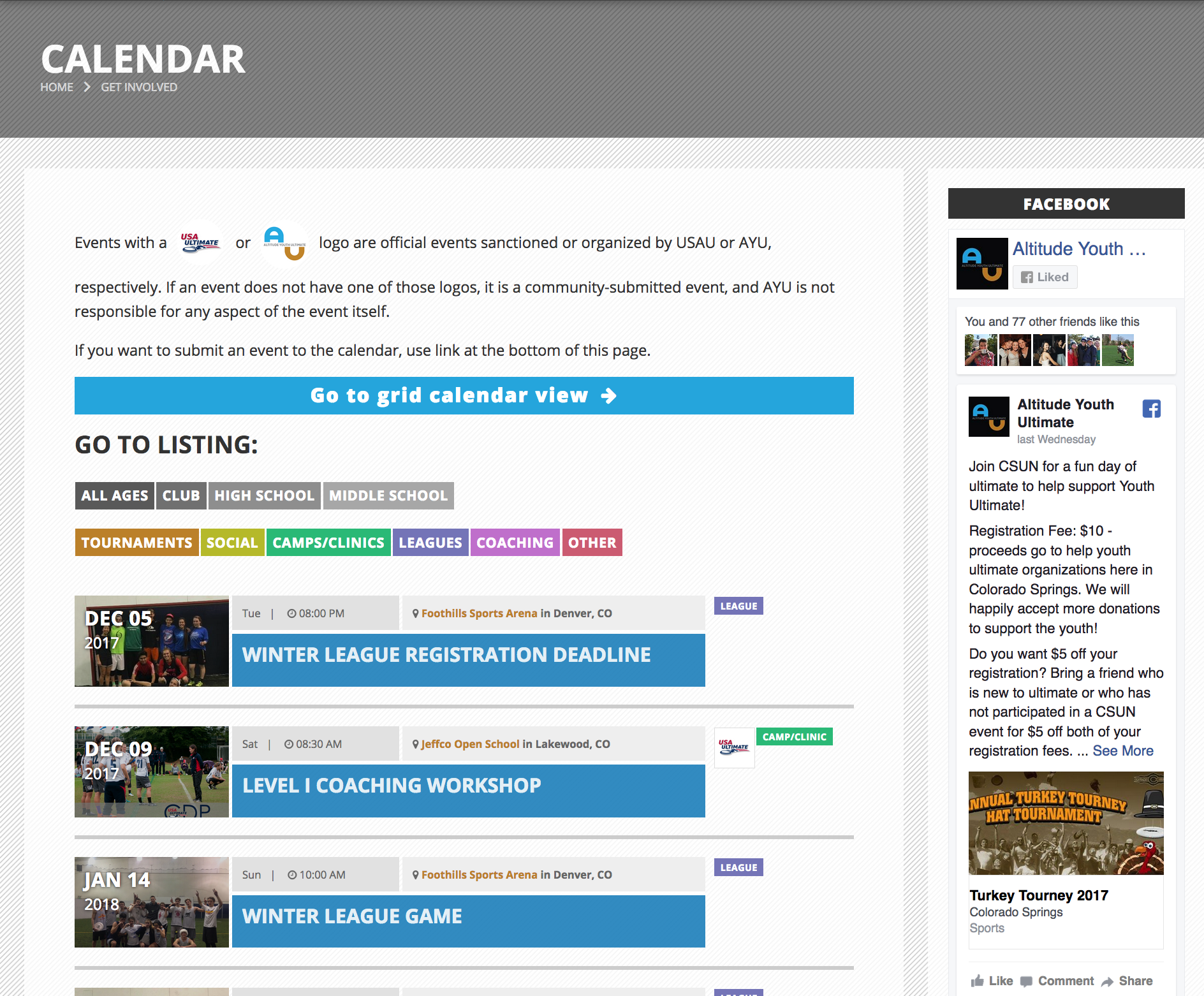 Events calendar listing coded by type