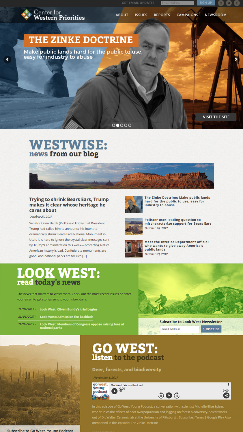 CWP ful home page featuring advanced slider, Medium blog feed, Blubrry podcast feed, and Mailchimp newsletter feed.