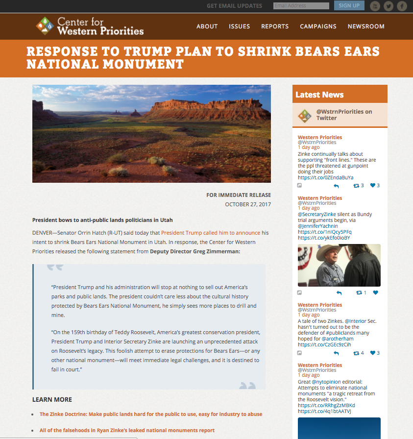 CWP subpage with featured image, block quote, and social feed in sidebar.
