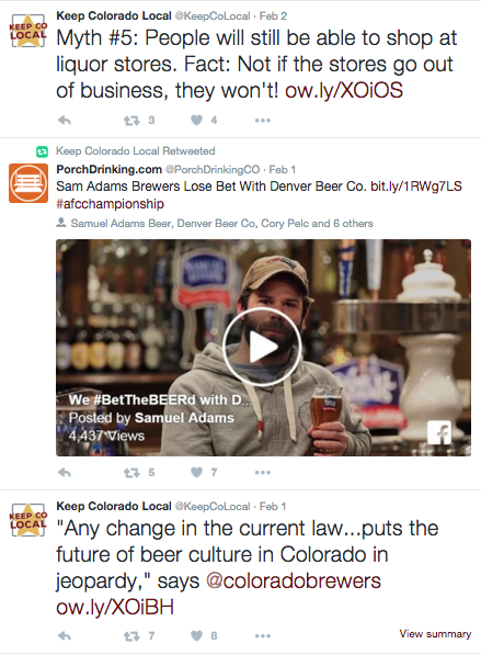 Keep Colorado Local used Twitter to advertise its primary messages.