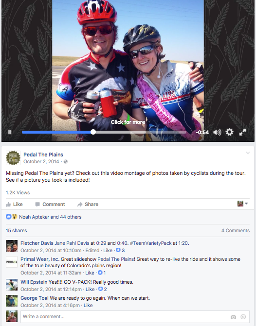 Photo montage videos created from rider-submitted photos recapped the ride and provided additional content for sharing and promotion.